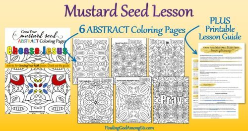 The Parable of the Mustard Seed ABSTRACT Coloring Pages plus the Mustard Seed Reflection Lesson Guide makes a perfect Sunday School Lesson for youth.