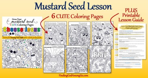 The Parable of the Mustard Seed CUTE Coloring Pages plus the Mustard Seed Reflection Lesson Guide makes a perfect Sunday School Lesson for youth.