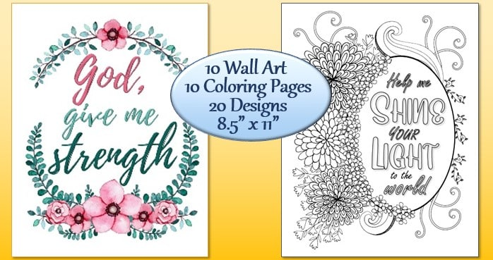 20 One Line Prayers 20 Designs Wall Art and Coloring Pages Sample pages