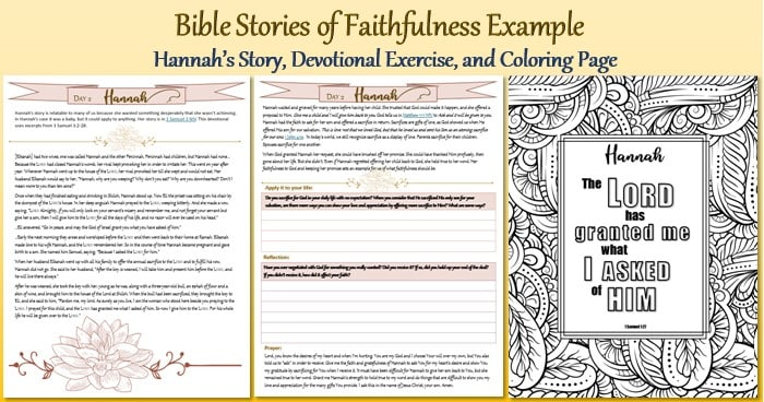 Bible Stories of Faithfulness Devotional and Coloring Page Example of Hannah