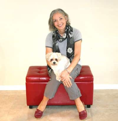 Shirley Alarie with Mopsie on lap