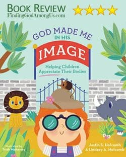 Book Cover for God Made Me In His Image. Girl at zoo using binoculars. Includes lion and rhino.