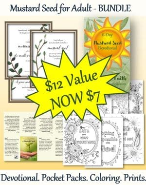 Mustard Seed for Adults Devotional, Pocket Booklets, Wall Prints, Coloring Pages