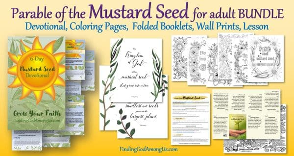 Mustard Seed Bundle for Adults. Includes Devotional, coloring pages, folded booklets, wall prints, and lesson