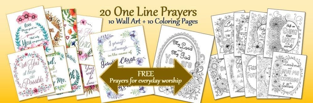 20 One Line Prayers 10 Wall Art 10 Coloring Pages