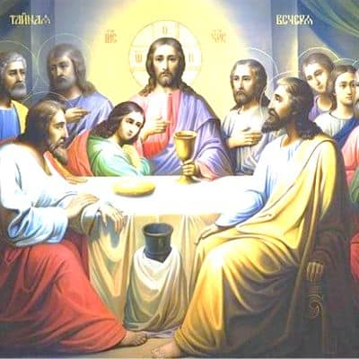 Jesus Christ with His disciples at table