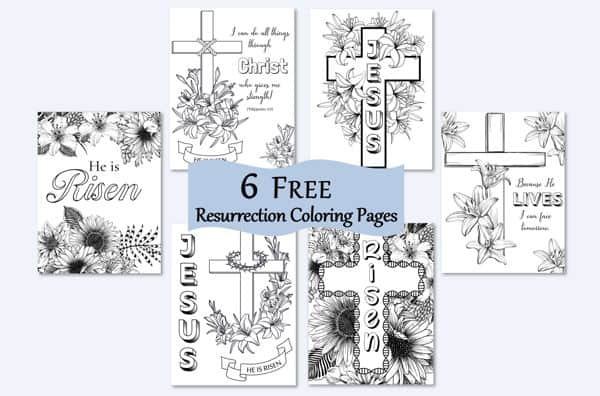 Six free Easter Resurrection coloring pages