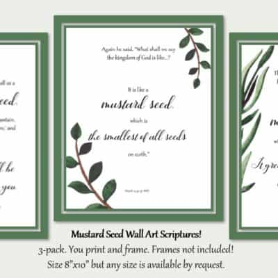 Mustard Seed Bible Verse Wall Art Printables 3-pack 8″x10″