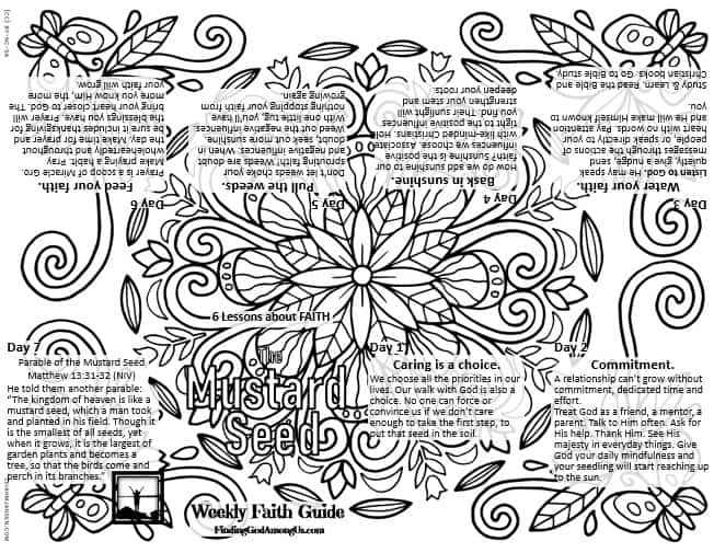 Mustard Seed Printable Faith COloring Guide